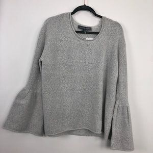French Connection Bell Sleeve Knit Gray Sweater